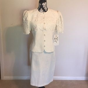 Vintage Steel Magnolia era 2 pc. Cream suit sz 12